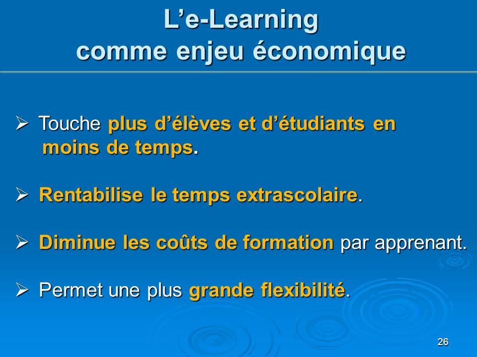 26 L'e-Learning comme enjeu économique  Touche plus d'élèves et d'étudiants en moins de temps. moins de temps.  Rentabilise le temps extrascolaire.