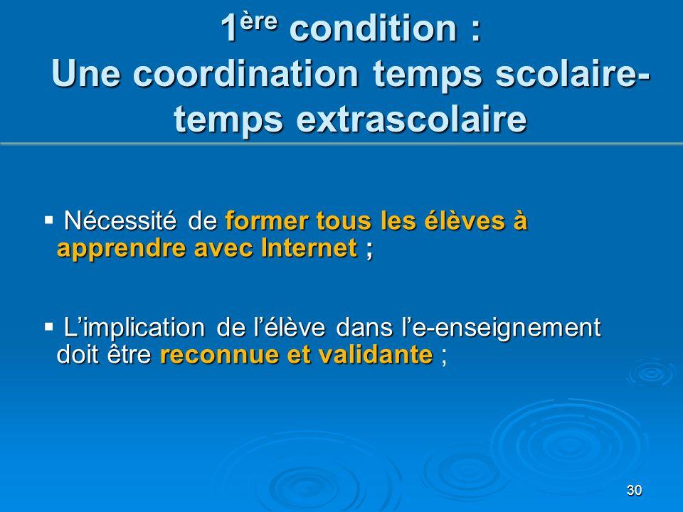 30 1 ère condition : Une coordination temps scolaire- temps extrascolaire Nécessité de former tous les élèves à apprendre avec Internet ;  Nécessité