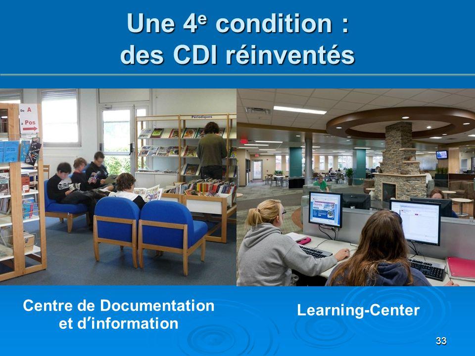 Centre de Documentation et d'information Learning-Center 33 Une 4 e condition : des CDI réinventés