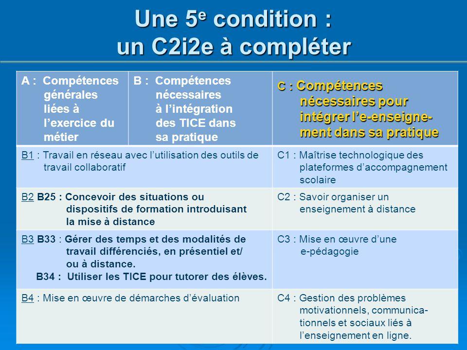 A : Compétences générales liées à l'exercice du métier B : Compétences nécessaires à l'intégration des TICE dans sa pratique C : Compétences nécessair