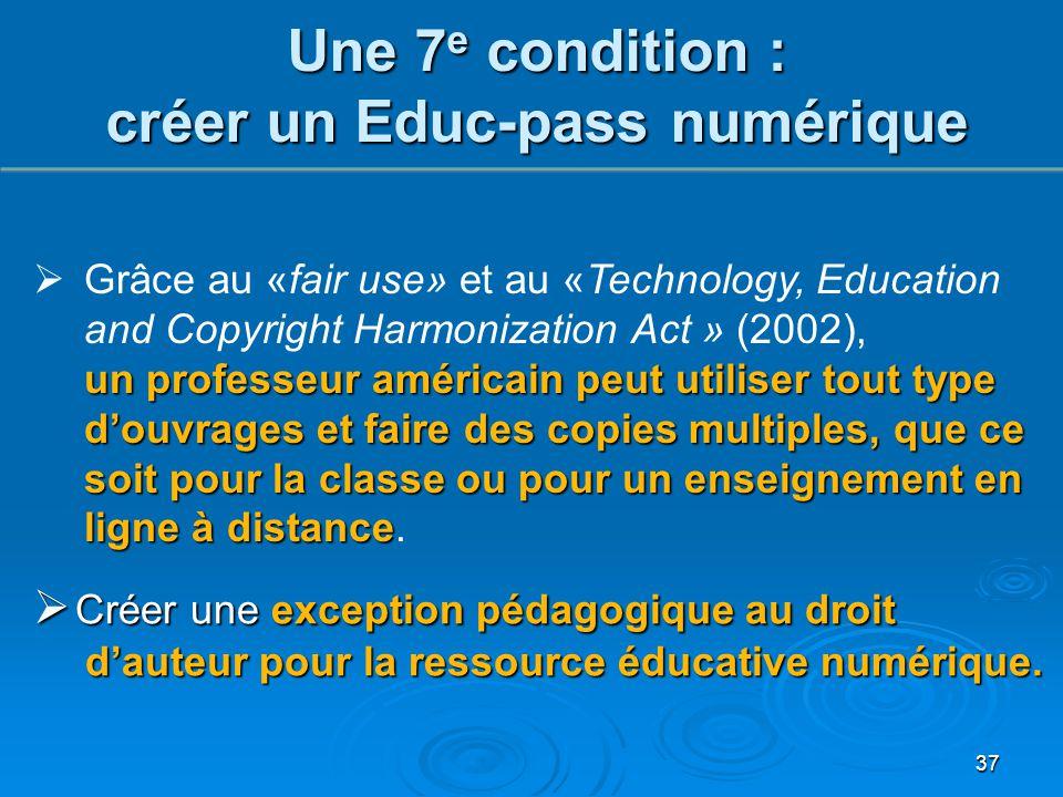 Une 7 e condition : créer un Educ-pass numérique 37  Créer une exception pédagogique au droit d'auteur pour la ressource éducative numérique. un prof