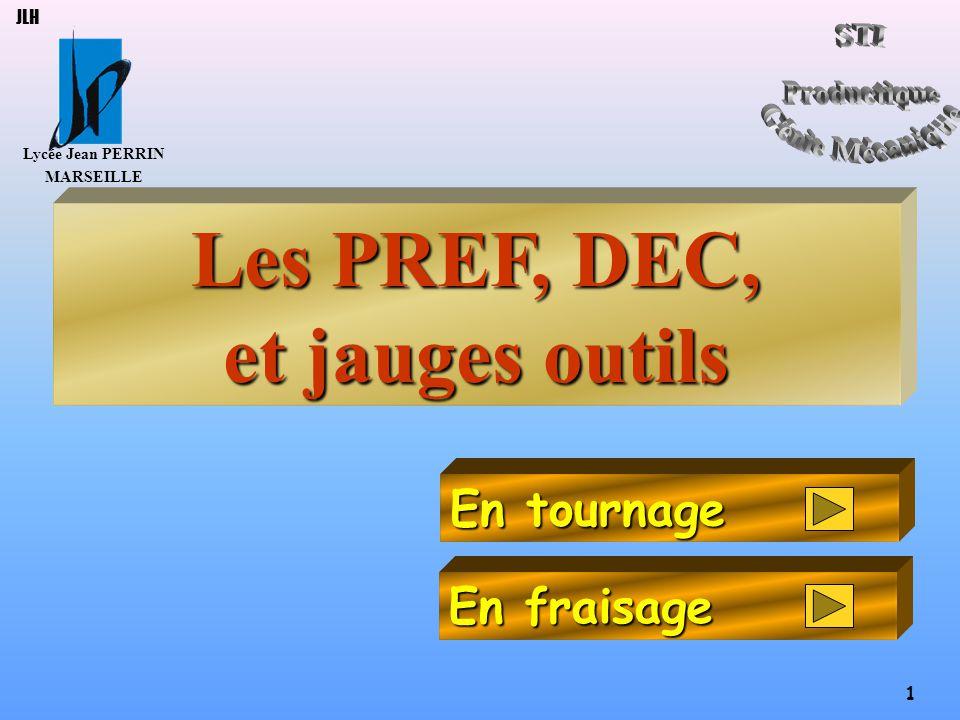 Lycée Jean PERRIN MARSEILLE 12 JLH Origine porte-pièce Origine Programme Point générateur Origine porte-outil Origine mesure PREF DEC 1 POINT COURANT JAUGES OUTIL POSITION PROGRAMMEE Origine porte outils Jauges outils clic