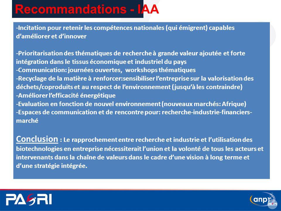 Recommandations - IAA -Incitation pour retenir les compétences nationales (qui émigrent) capables d'améliorer et d'innover -Prioritarisation des théma