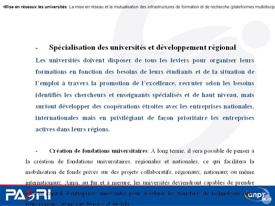 Mise en réseaux les universités: La mise en réseau et la mutualisation des infrastructures de formation et de recherche (plateformes multidisciplinair