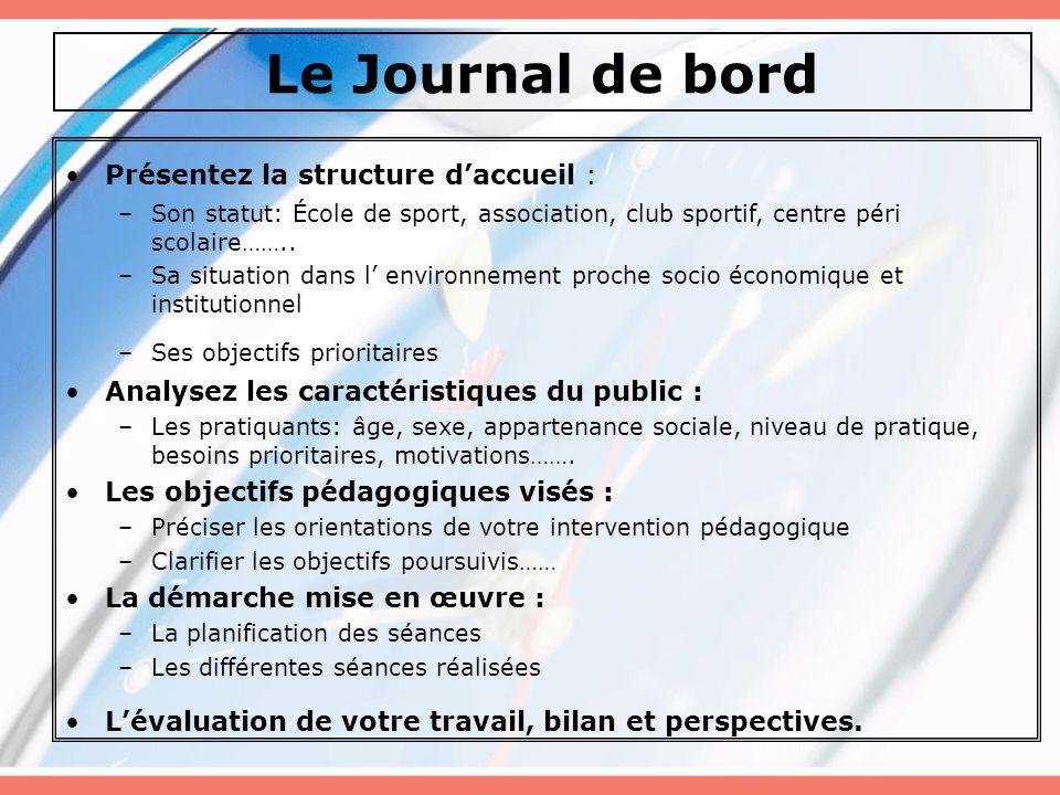 Le Journal de bord Présentez la structure d'accueil : –Son statut: École de sport, association, club sportif, centre péri scolaire……..