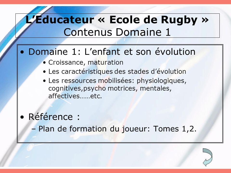 L'Educateur « Ecole de Rugby » Contenus Domaine 1 Domaine 1: L'enfant et son évolution Croissance, maturation Les caractéristiques des stades d'évolut