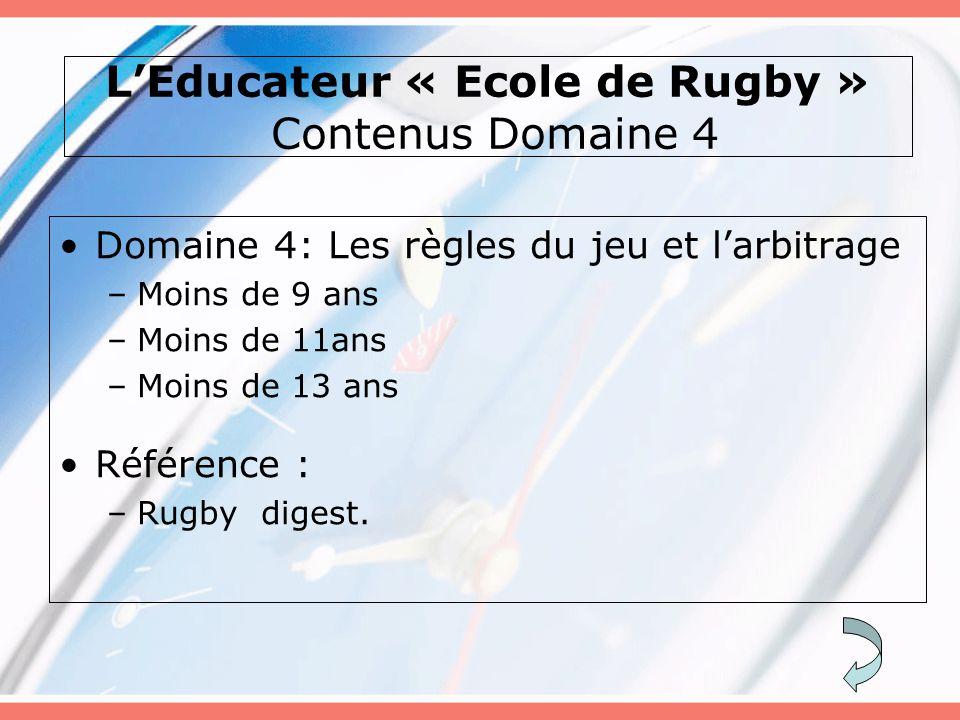 L'Educateur « Ecole de Rugby » Contenus Domaine 4 Domaine 4: Les règles du jeu et l'arbitrage –Moins de 9 ans –Moins de 11ans –Moins de 13 ans Référence : –Rugby digest.