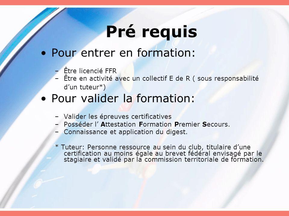 Pré requis Pour entrer en formation: –Être licencié FFR –Être en activité avec un collectif E de R ( sous responsabilité d'un tuteur*) Pour valider la