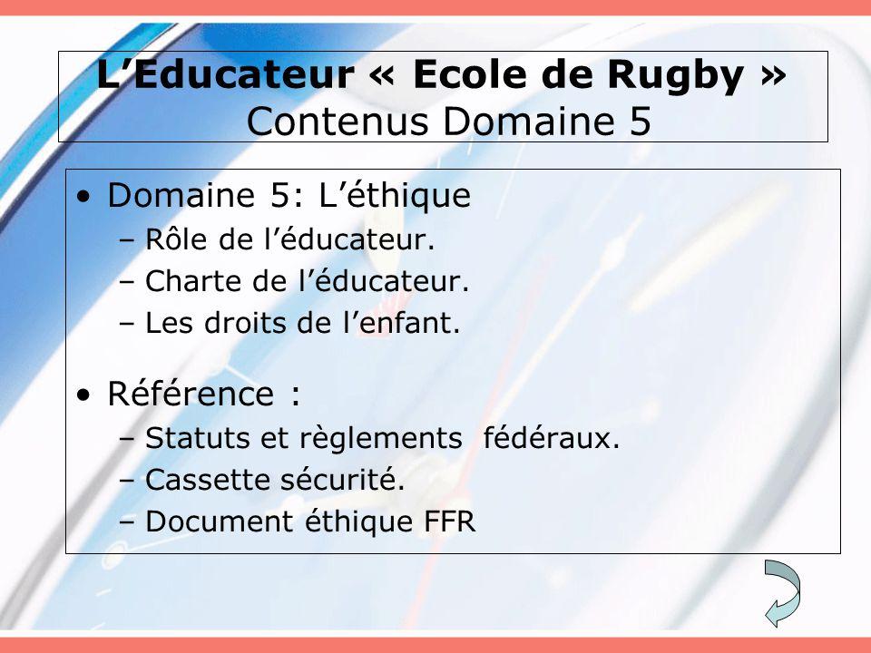 L'Educateur « Ecole de Rugby » Contenus Domaine 5 Domaine 5: L'éthique –Rôle de l'éducateur. –Charte de l'éducateur. –Les droits de l'enfant. Référenc