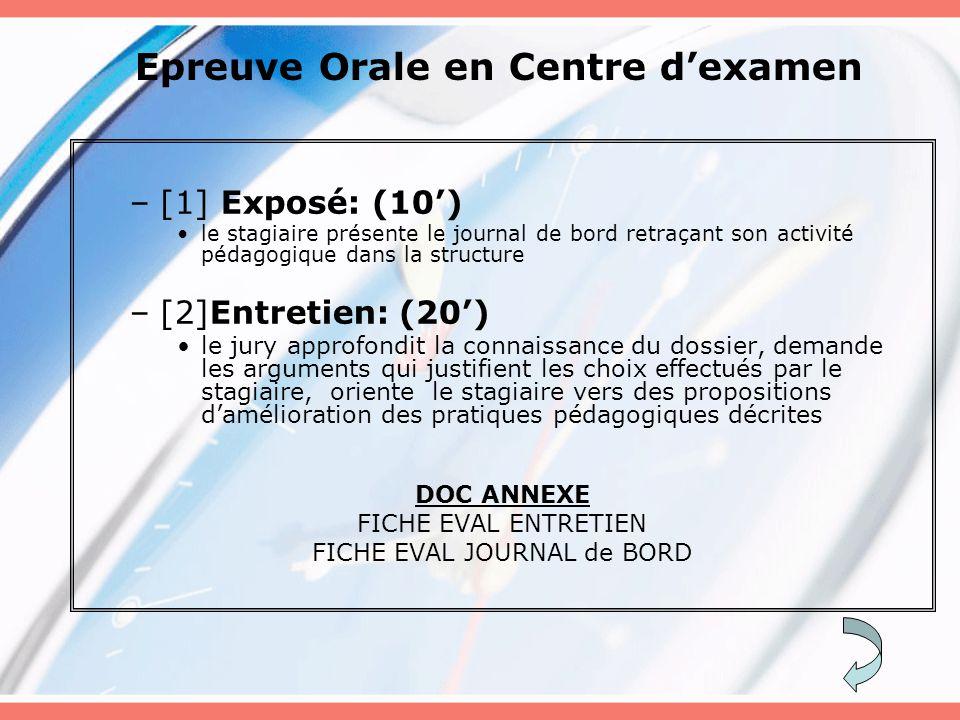 Epreuve Orale en Centre d'examen –[1] Exposé: (10') le stagiaire présente le journal de bord retraçant son activité pédagogique dans la structure –[2]