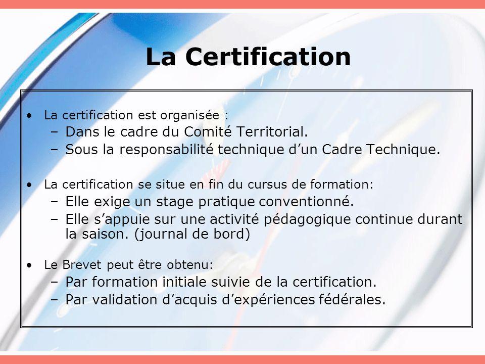 La Certification La certification est organisée : –Dans le cadre du Comité Territorial. –Sous la responsabilité technique d'un Cadre Technique. La cer