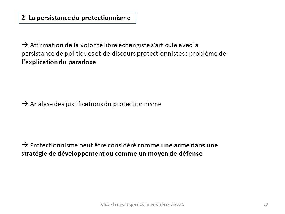 10 2- La persistance du protectionnisme  Affirmation de la volonté libre échangiste s'articule avec la persistance de politiques et de discours prote