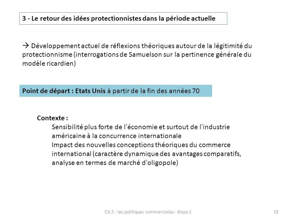 Ch.3 - les politiques commerciales - diapo 119 3 - Le retour des idées protectionnistes dans la période actuelle  Développement actuel de réflexions