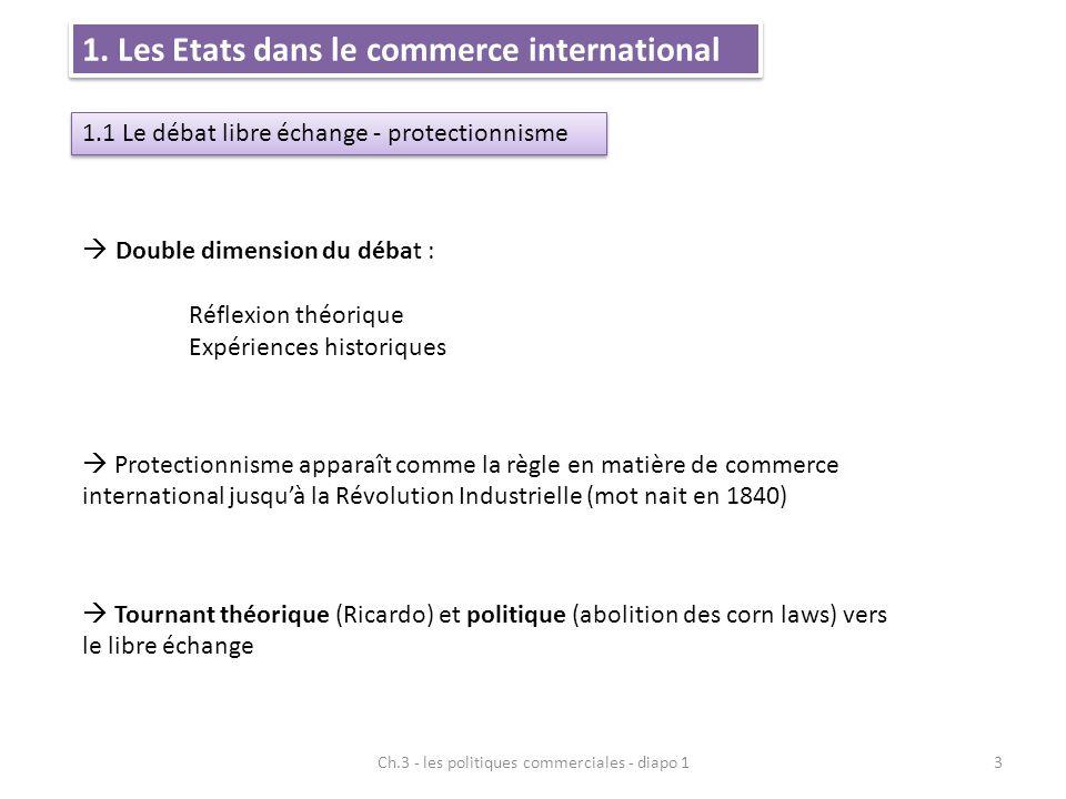 1. Les Etats dans le commerce international 1.1 Le débat libre échange - protectionnisme  Double dimension du débat : Réflexion théorique Expériences