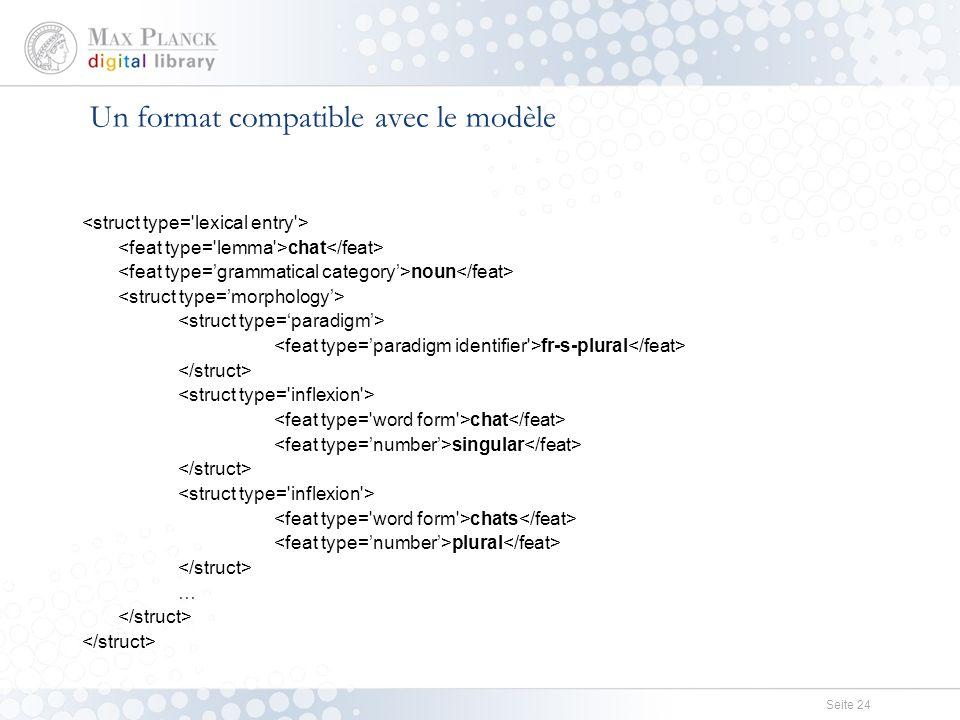 Seite 24 Un format compatible avec le modèle chat noun fr-s-plural chat singular chats plural …