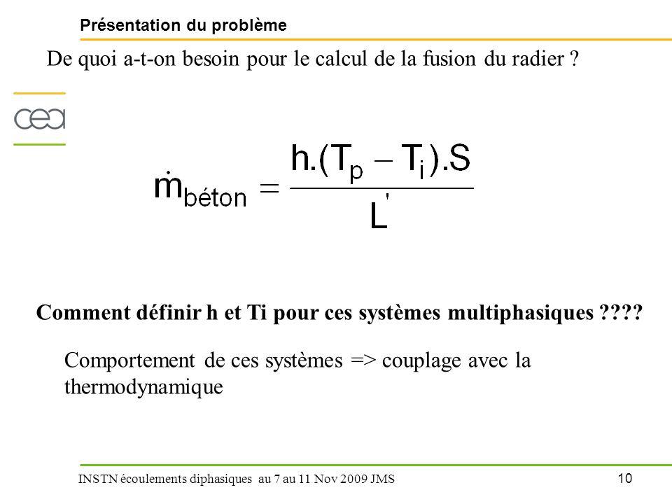10 INSTN écoulements diphasiques au 7 au 11 Nov 2009 JMS Présentation du problème De quoi a-t-on besoin pour le calcul de la fusion du radier ? Commen