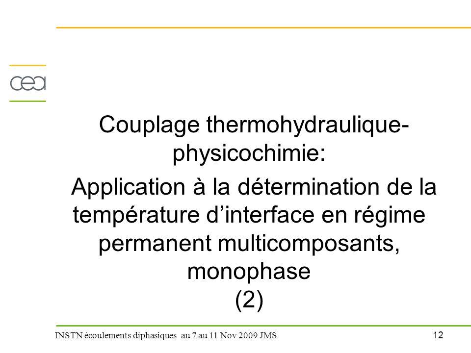 12 INSTN écoulements diphasiques au 7 au 11 Nov 2009 JMS Couplage thermohydraulique- physicochimie: Application à la détermination de la température d