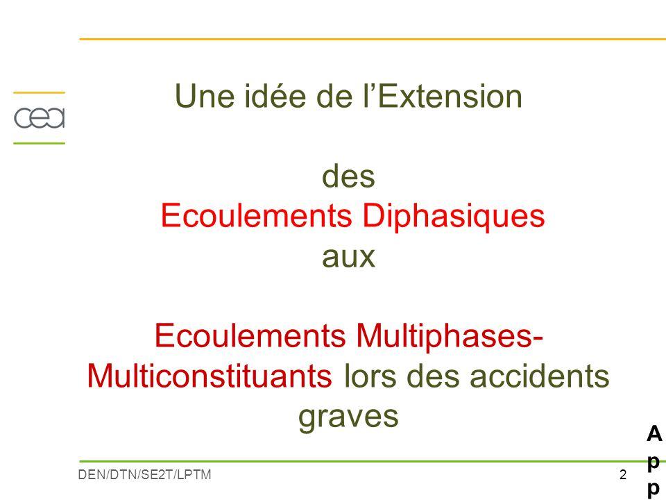 2DEN/DTN/SE2T/LPTM Une idée de l'Extension des Ecoulements Diphasiques aux Ecoulements Multiphases- Multiconstituants lors des accidents graves Applic