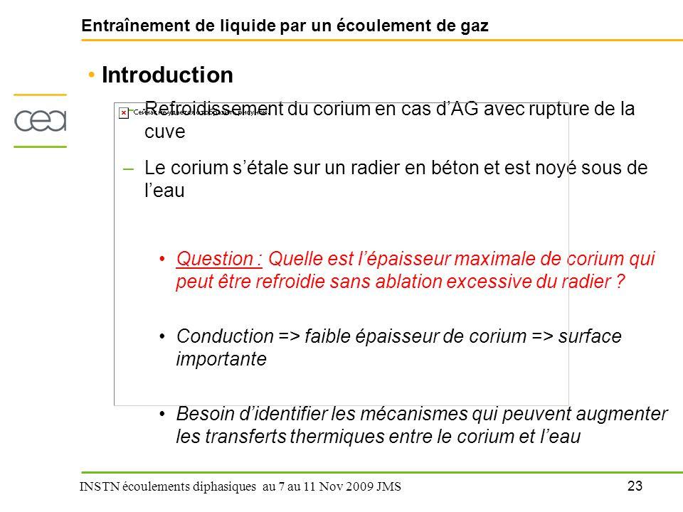 23 INSTN écoulements diphasiques au 7 au 11 Nov 2009 JMS Entraînement de liquide par un écoulement de gaz Introduction –Refroidissement du corium en c