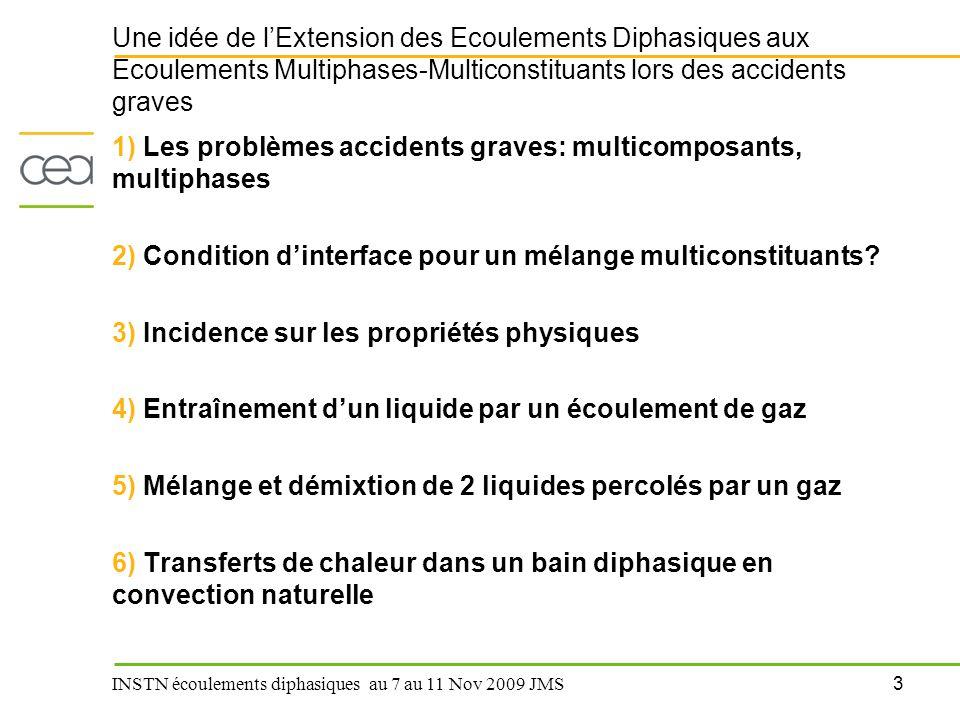 3 INSTN écoulements diphasiques au 7 au 11 Nov 2009 JMS Une idée de l'Extension des Ecoulements Diphasiques aux Ecoulements Multiphases-Multiconstitua