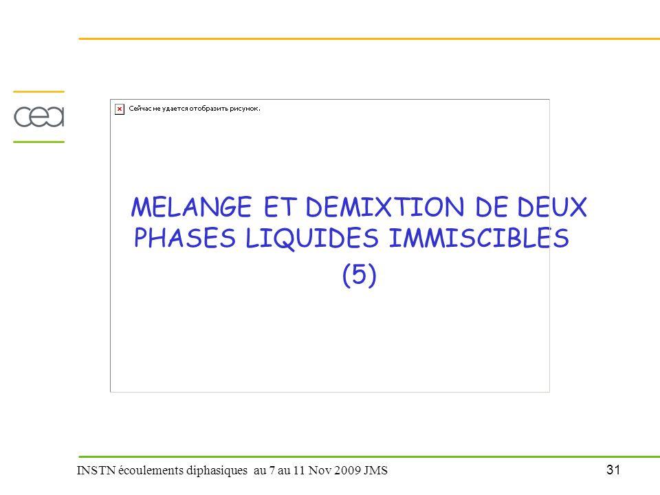 31 INSTN écoulements diphasiques au 7 au 11 Nov 2009 JMS MELANGE ET DEMIXTION DE DEUX PHASES LIQUIDES IMMISCIBLES (5)