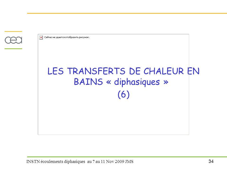 34 INSTN écoulements diphasiques au 7 au 11 Nov 2009 JMS LES TRANSFERTS DE CHALEUR EN BAINS « diphasiques » (6)