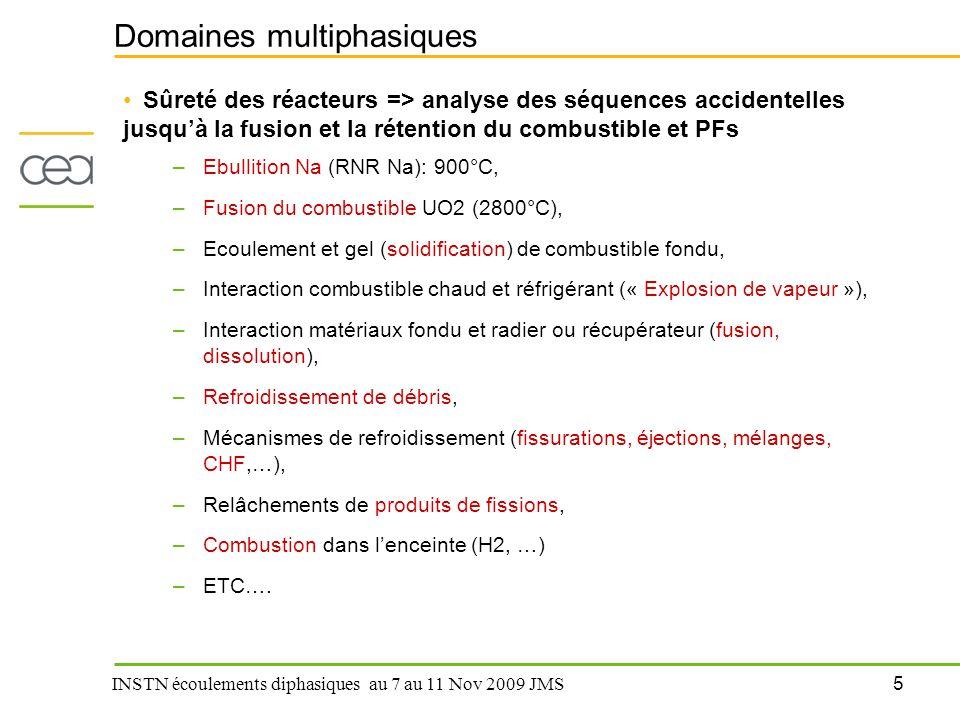 5 INSTN écoulements diphasiques au 7 au 11 Nov 2009 JMS Domaines multiphasiques Sûreté des réacteurs => analyse des séquences accidentelles jusqu'à la