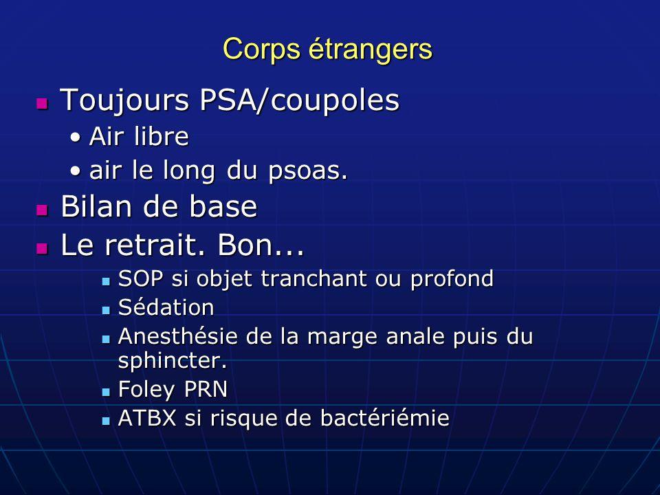 Corps étrangers Toujours PSA/coupoles Toujours PSA/coupoles Air libreAir libre air le long du psoas.air le long du psoas.