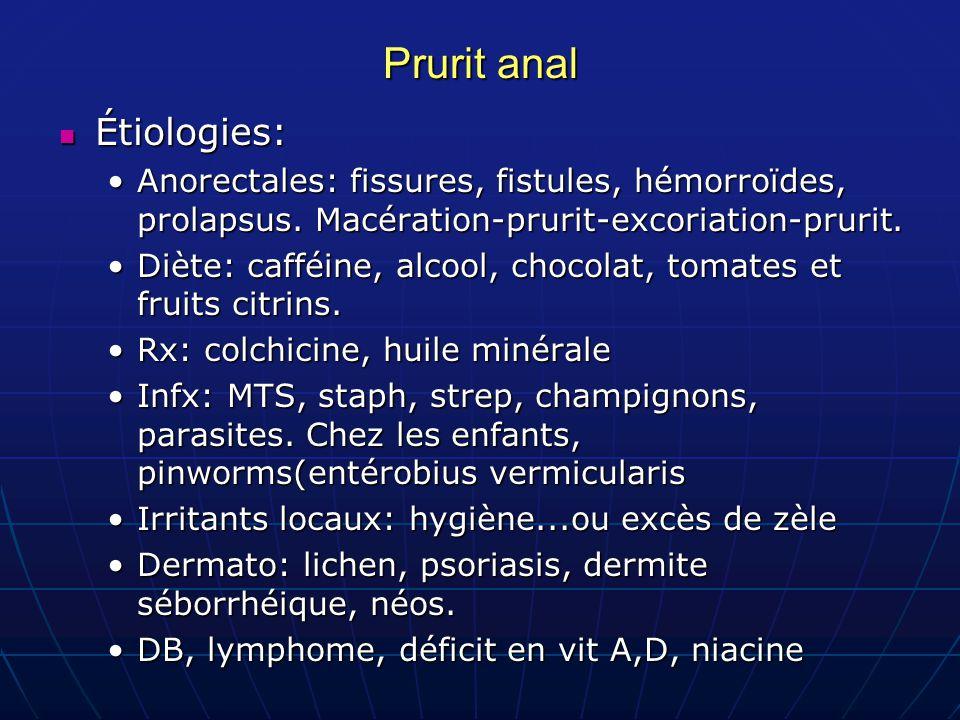Prurit anal Étiologies: Étiologies: Anorectales: fissures, fistules, hémorroïdes, prolapsus. Macération-prurit-excoriation-prurit.Anorectales: fissure