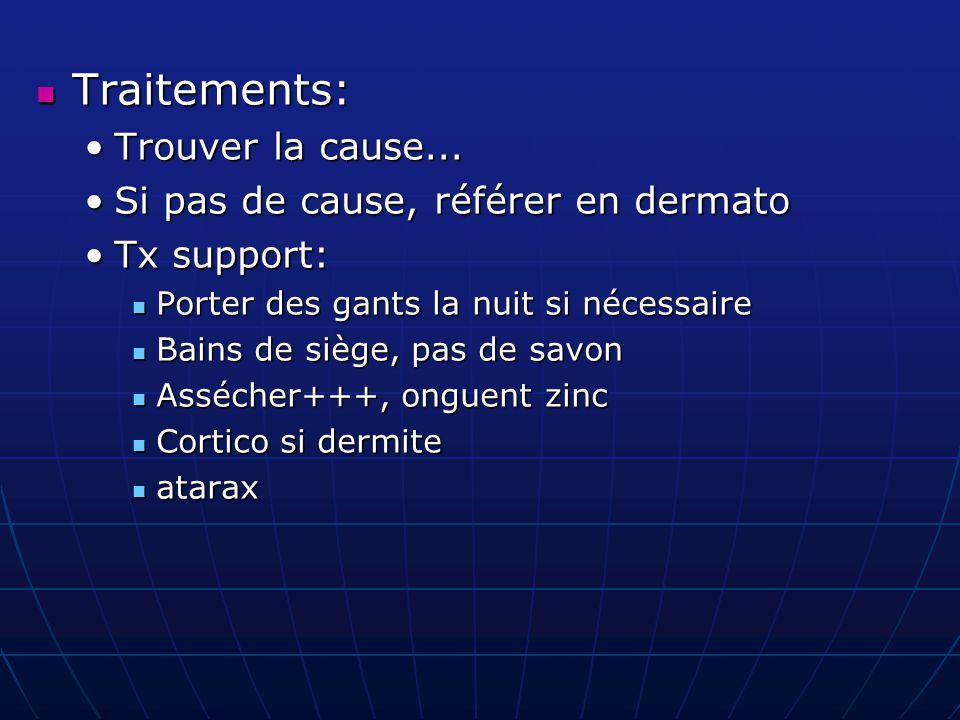 Traitements: Traitements: Trouver la cause...Trouver la cause... Si pas de cause, référer en dermatoSi pas de cause, référer en dermato Tx support:Tx