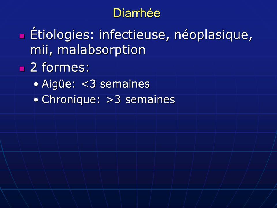 Diarrhée Étiologies: infectieuse, néoplasique, mii, malabsorption Étiologies: infectieuse, néoplasique, mii, malabsorption 2 formes: 2 formes: Aigüe: