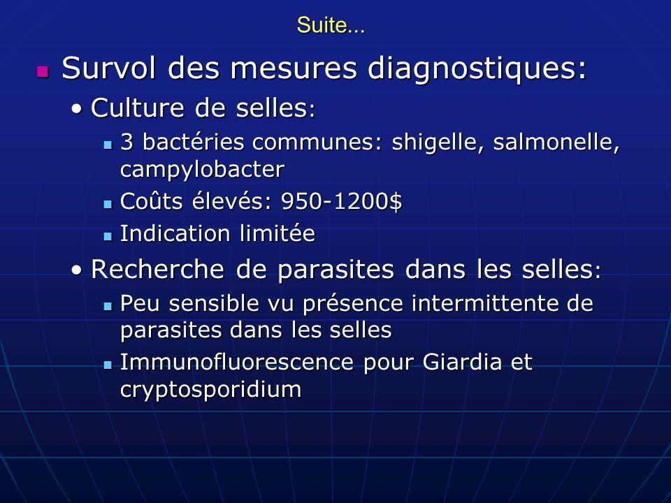 Suite... Survol des mesures diagnostiques: Survol des mesures diagnostiques: Culture de selles :Culture de selles : 3 bactéries communes: shigelle, sa