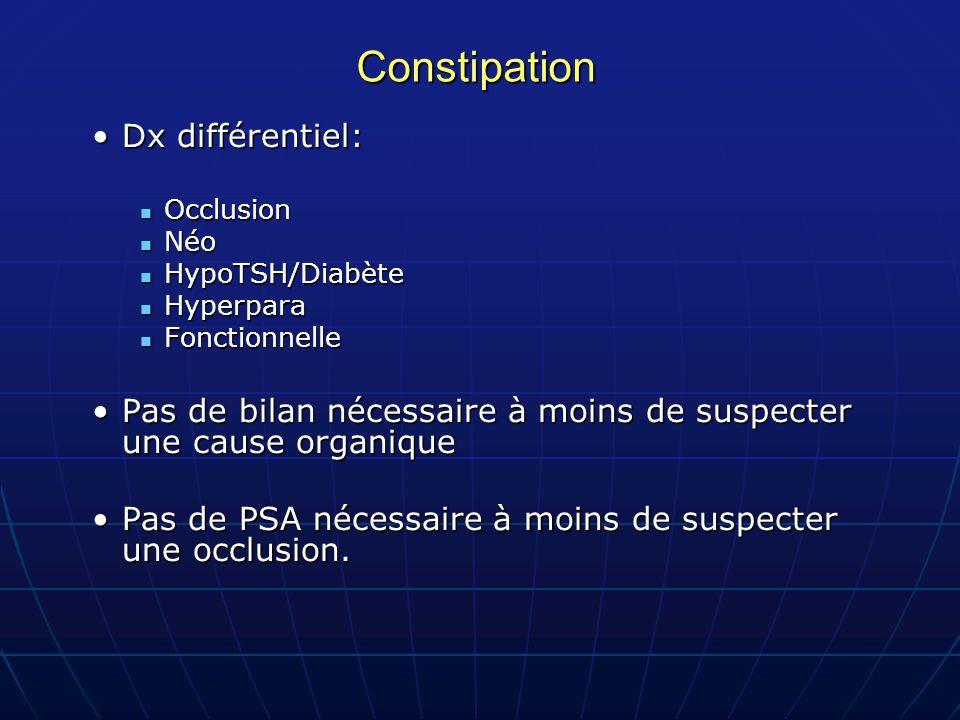 Constipation Dx différentiel:Dx différentiel: Occlusion Occlusion Néo Néo HypoTSH/Diabète HypoTSH/Diabète Hyperpara Hyperpara Fonctionnelle Fonctionne