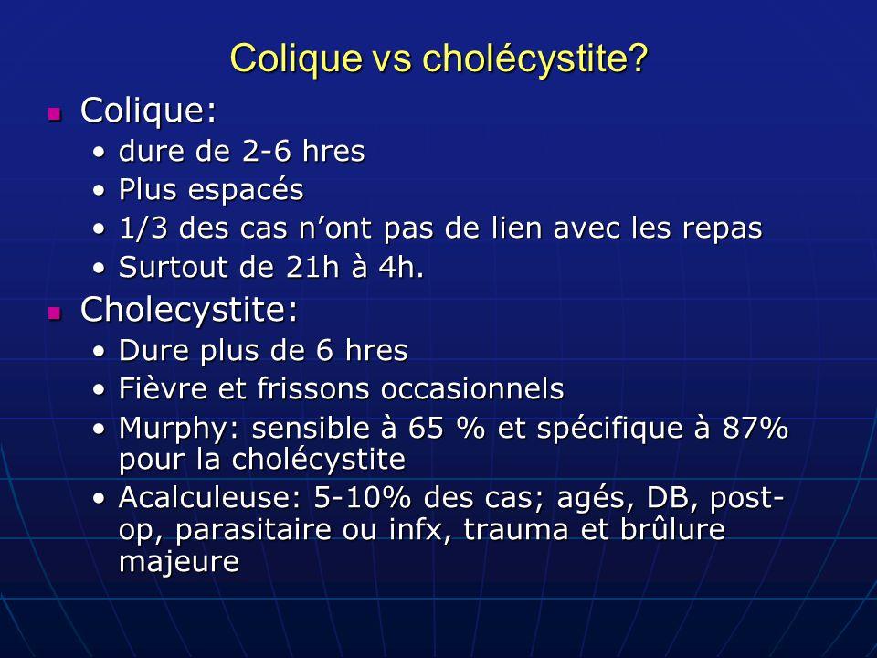 Colique vs cholécystite? Colique: Colique: dure de 2-6 hresdure de 2-6 hres Plus espacésPlus espacés 1/3 des cas n'ont pas de lien avec les repas1/3 d