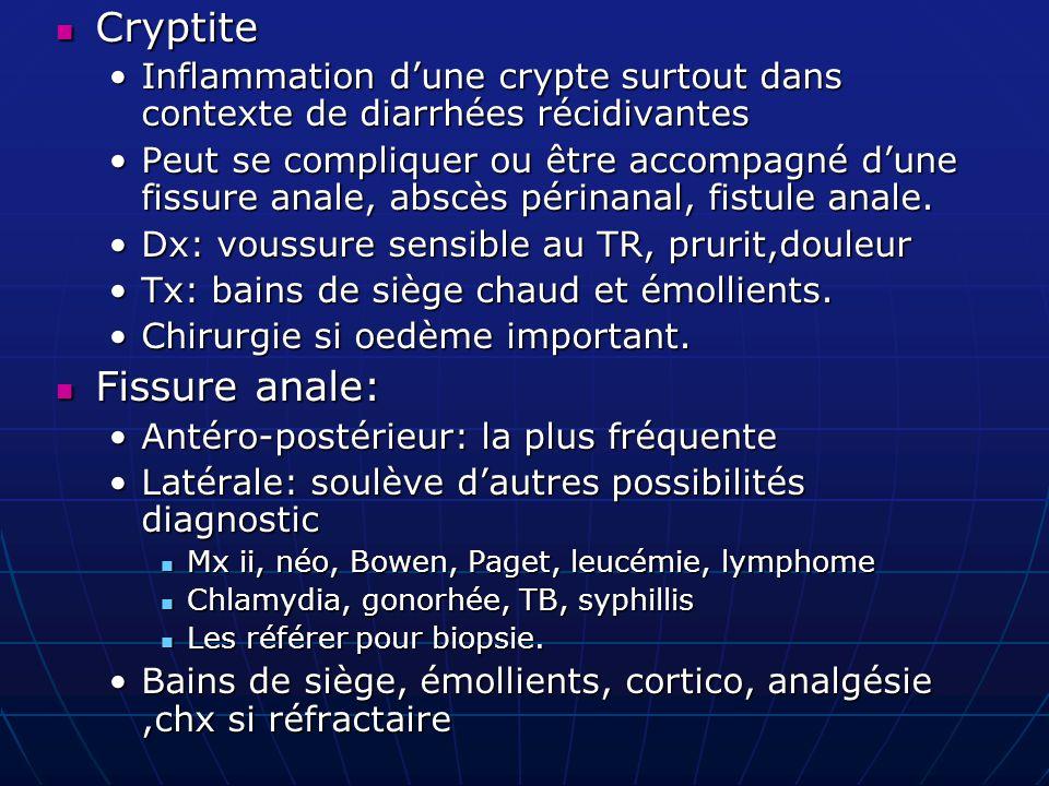 Cryptite Cryptite Inflammation d'une crypte surtout dans contexte de diarrhées récidivantesInflammation d'une crypte surtout dans contexte de diarrhée