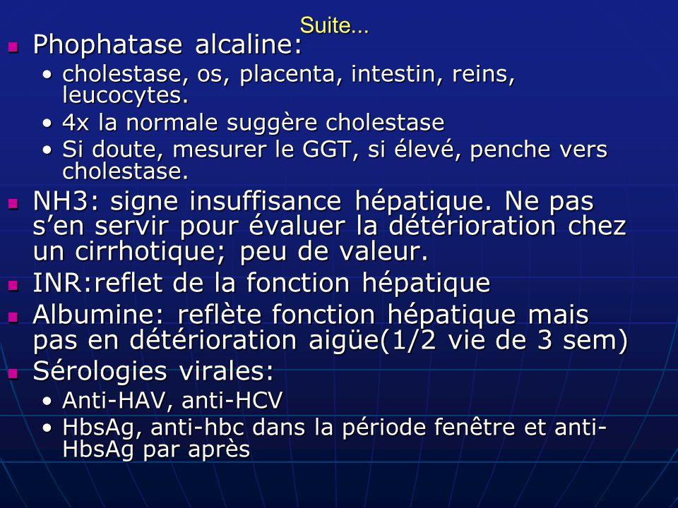 Suite... Phophatase alcaline: Phophatase alcaline: cholestase, os, placenta, intestin, reins, leucocytes.cholestase, os, placenta, intestin, reins, le