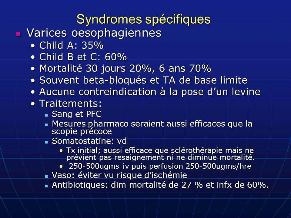 Syndromes spécifiques Varices oesophagiennes Varices oesophagiennes Child A: 35%Child A: 35% Child B et C: 60%Child B et C: 60% Mortalité 30 jours 20%