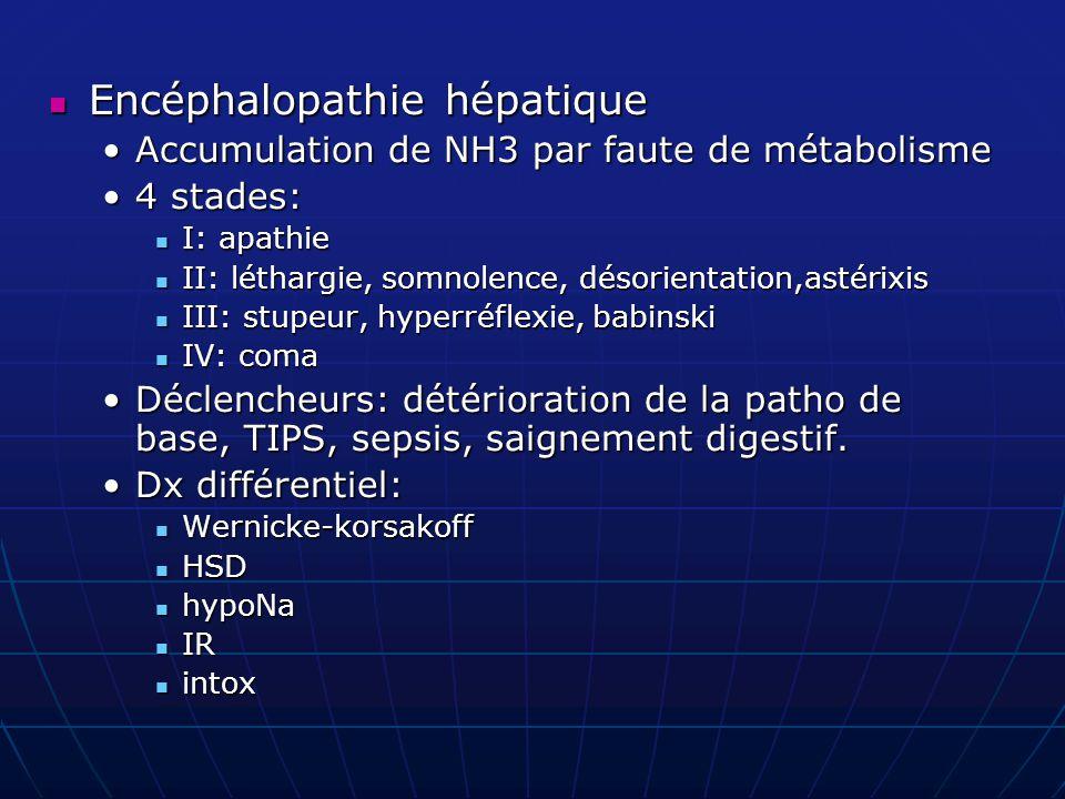 Encéphalopathie hépatique Encéphalopathie hépatique Accumulation de NH3 par faute de métabolismeAccumulation de NH3 par faute de métabolisme 4 stades:
