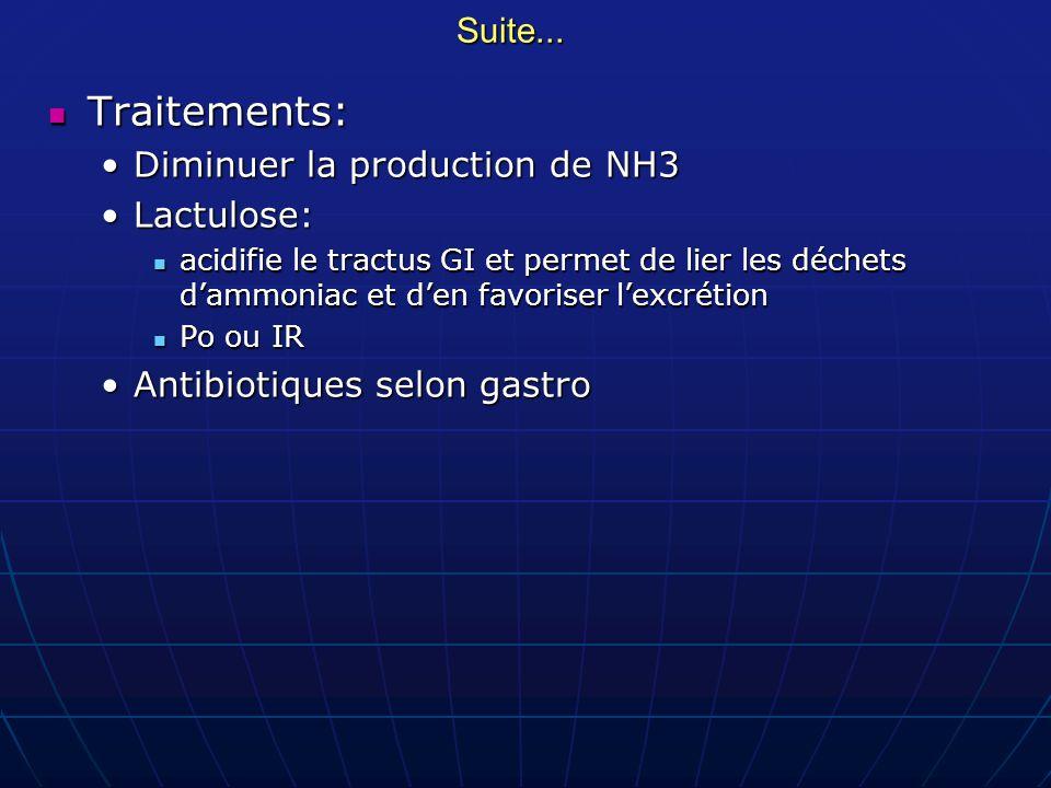 Suite... Traitements: Traitements: Diminuer la production de NH3Diminuer la production de NH3 Lactulose:Lactulose: acidifie le tractus GI et permet de