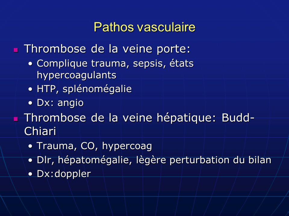 Pathos vasculaire Thrombose de la veine porte: Thrombose de la veine porte: Complique trauma, sepsis, états hypercoagulantsComplique trauma, sepsis, é
