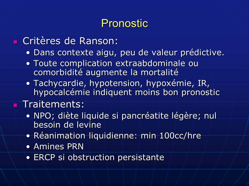 Pronostic Critères de Ranson: Critères de Ranson: Dans contexte aigu, peu de valeur prédictive.Dans contexte aigu, peu de valeur prédictive. Toute com
