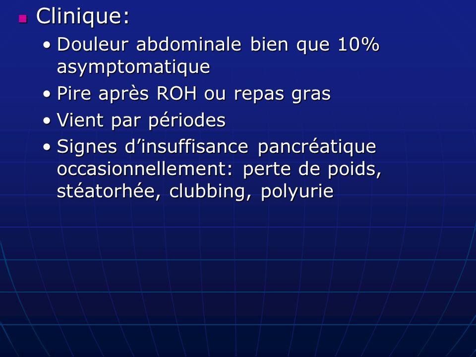 Clinique: Clinique: Douleur abdominale bien que 10% asymptomatiqueDouleur abdominale bien que 10% asymptomatique Pire après ROH ou repas grasPire aprè