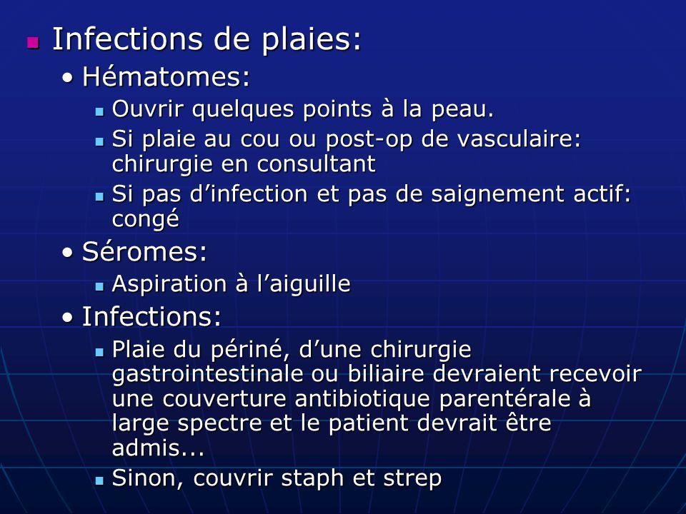 Infections de plaies: Infections de plaies: Hématomes:Hématomes: Ouvrir quelques points à la peau. Ouvrir quelques points à la peau. Si plaie au cou o