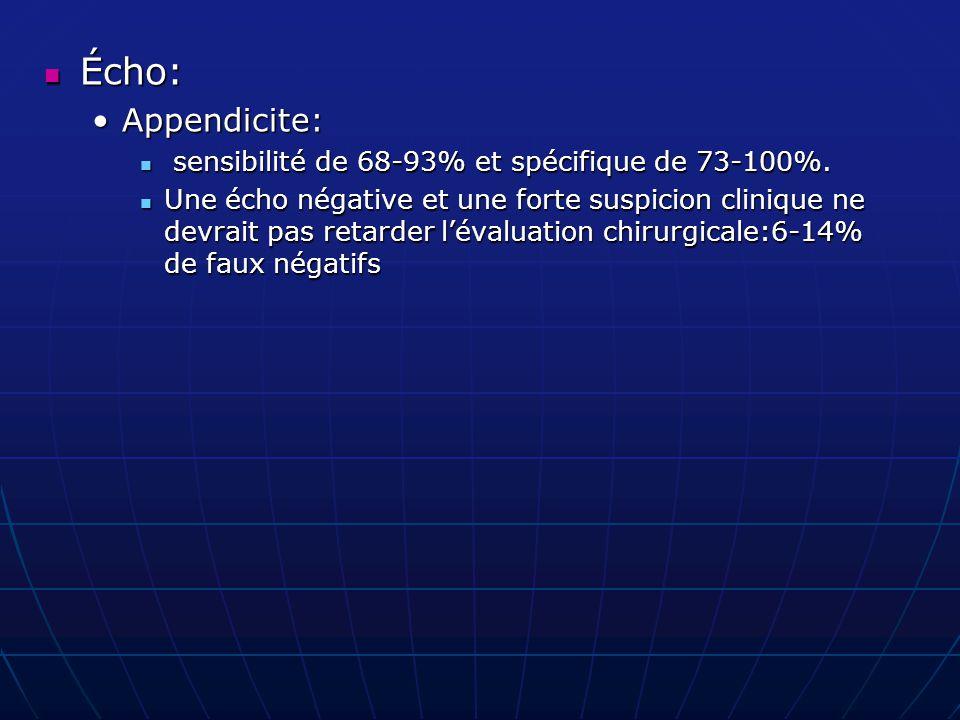 Écho: Écho: Appendicite:Appendicite: sensibilité de 68-93% et spécifique de 73-100%. sensibilité de 68-93% et spécifique de 73-100%. Une écho négative