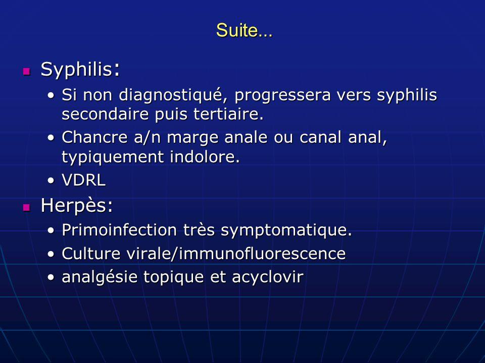 Suite... Syphilis : Syphilis : Si non diagnostiqué, progressera vers syphilis secondaire puis tertiaire.Si non diagnostiqué, progressera vers syphilis