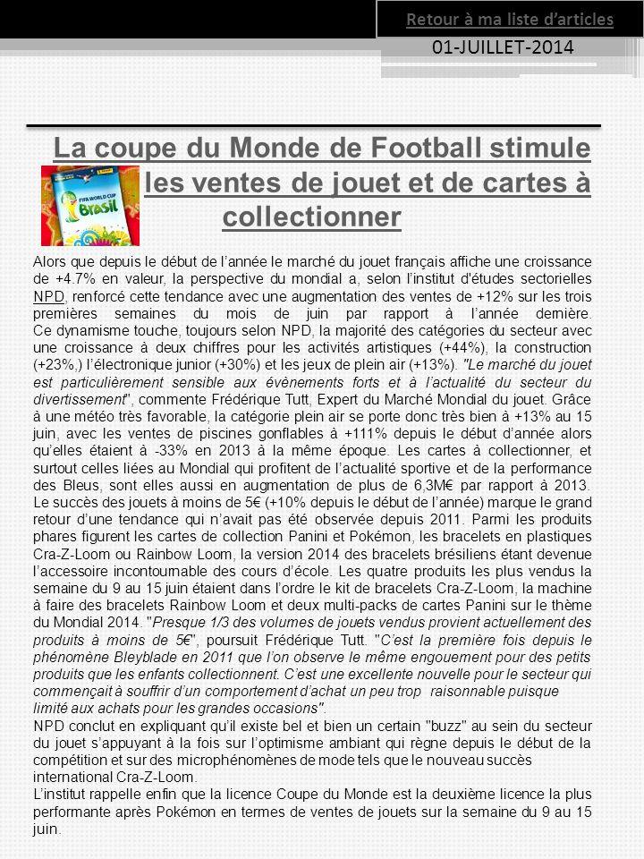 Retour à ma liste d'articles 01-JUILLET-2014 La coupe du Monde de Football stimule les ventes de jouet et de cartes à collectionner Alors que depuis l