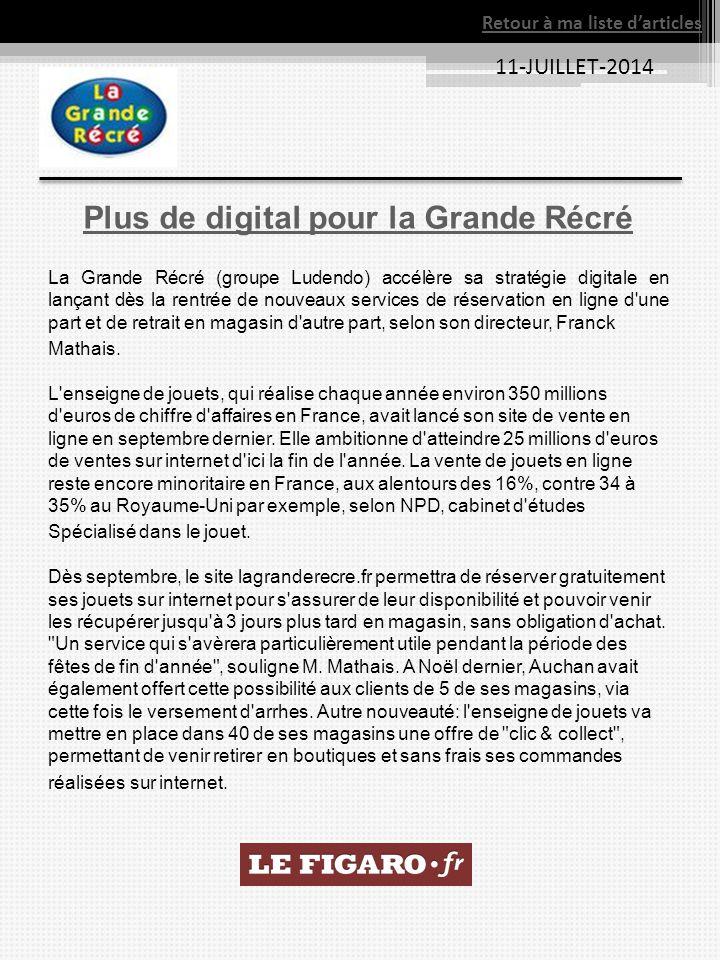 11-JUILLET-2014 Plus de digital pour la Grande Récré La Grande Récré (groupe Ludendo) accélère sa stratégie digitale en lançant dès la rentrée de nouv