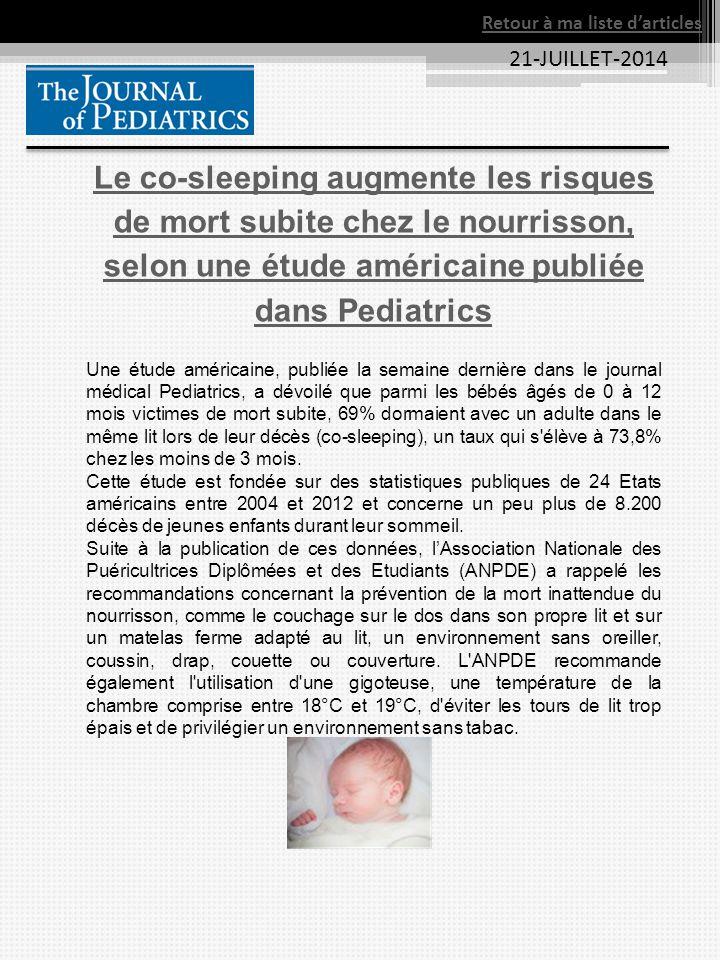 21-JUILLET-2014 Le co-sleeping augmente les risques de mort subite chez le nourrisson, selon une étude américaine publiée dans Pediatrics Une étude am