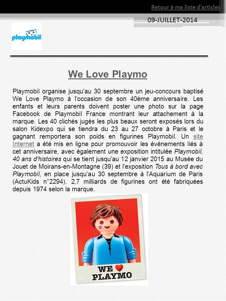 09-JUILLET-2014 We Love Playmo Playmobil organise jusqu'au 30 septembre un jeu-concours baptisé We Love Playmo à l'occasion de son 40ème anniversaire.