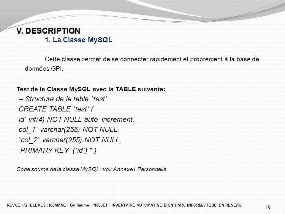 V. DESCRIPTION V. DESCRIPTION 1. La Classe MySQL Cette classe permet de se connecter rapidement et proprement à la base de données GPI. Test de la Cla